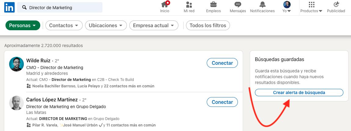 Cómo guardar búsquedas y encontrar clientes Linkedin